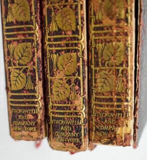 Three (3) leather bound volumes of Nathanial Hawthorne's Romances, published by Crowell and Co.
