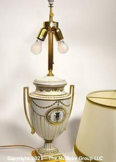 Italian Hand Painted Porcelain Table Lamp by Giulia Mangani of Neoclassical Urn Form with Custom Made Lamp Shade.