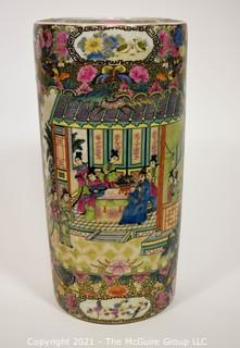 "Early 20th Century Chinese Painted and Gilt Porcelain Umbrella or Cane Stand with Chop Mark.  Measures approximately 9 x 19""T"