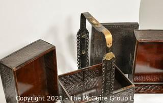 """Chinese Antique Stacking Lunch Box with Brass & Lacquered Accents and Handle {TMG Business Card Placed for Perspective} 15"""" x 18"""" x 19"""" + handle"""
