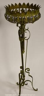 """Pierced Metal Garden Plant Stand.  Measures approximately 15"""" wide at top rim x 45"""" tall"""