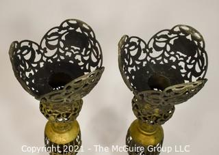 "Pair of Large Brass Filigree Candlesticks Bohemian Decor, Made in Japan.  They measure approximately 22"" Tall"