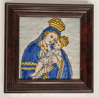 """Madonna & Child Hand Painted Tile in wood frame; 10 1/2 x 10 1/2"""" square"""