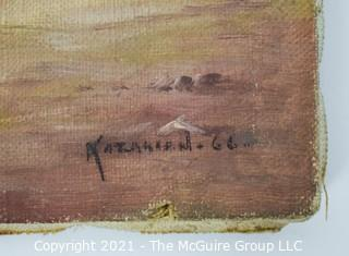 Vintage Unframed Oil on Canvas of Farm Scene Signed by Artist Alejke Gurgin Kazarian; 12 x 16""
