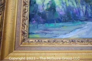 """Framed Mixed Media Landscape on Canvas titled """"Country Road"""", signed lower left by artist, Lawrence Behunek; 9 x 12"""""""