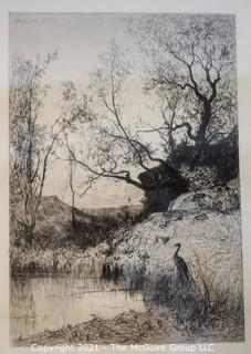 """Sepia-toned Landscape Lithograph; signed and dated, framed under glass; 14 1/2 x 17 1/2"""""""