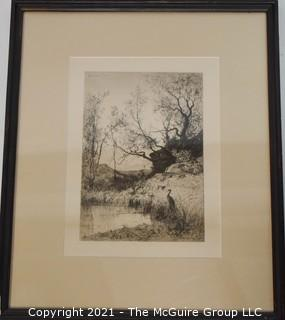 Sepia-toned Landscape Lithograph; signed and dated, framed under glass; 14 1/2 x 17 1/2""