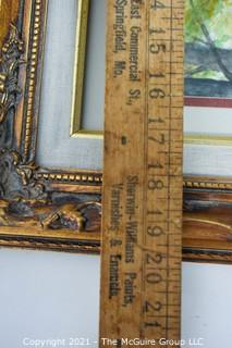 Framed Under Glass Woods Scene Signed By Artist.  Measures approximately 16 1/2 x 19 1/2""