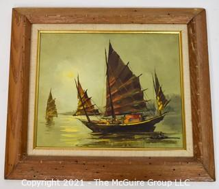Mid Century Framed Oil on Canvas of Asian Junk Boats on Water Signed by Artist C Chan in Lower Corner.  Measures approximately 14 x 16""
