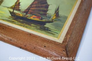"""Mid Century Framed Oil on Canvas of Asian Junk Boats on Water Signed by Artist C Chan in Lower Corner.  Measures approximately 14 x 16"""""""
