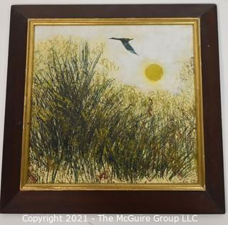 Vintage Mid Century Oil on Board Painting of Bird over Field.