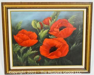 "Framed Oil on Canvas of Red Poppies Signed by Artist Kahle Weyerbacher. Measures approximately 25"" x 20"""