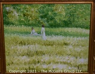 """Oil on Canvas of Girls in Field Signed by Artist E. Jones in Gilt Frame.  Measures approximately 32"""" x 28""""."""