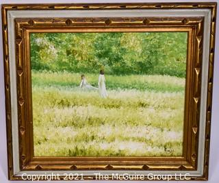 "Oil on Canvas of Girls in Field Signed by Artist E. Jones in Gilt Frame.  Measures approximately 32"" x 28""."