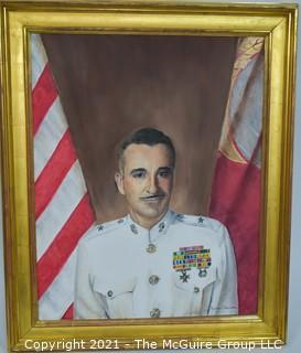 """Framed Portrait of General Frederick Karch painted by fellow marine Benton Ellicott; 30 x 36"""""""