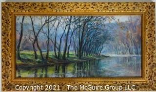"Framed Oil on Canvas Giclee Landscape, signed lower left, 13 1/2 x 24"""