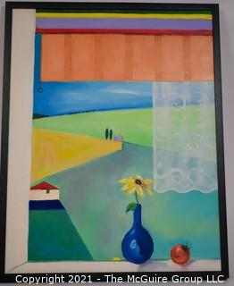 Framed Contemporary Oil on Canvas of View from Window; 23 x 29""