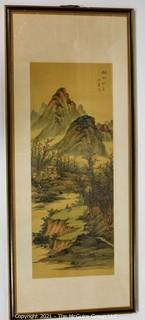 """Framed Under Glass Asian Scroll Painting Depicting Mountain Scene Signed with Chop Mark.  Measures approximately 34"""" x 14""""."""