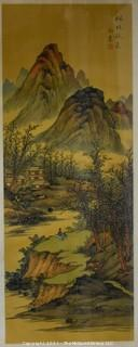 "Framed Under Glass Asian Scroll Painting Depicting Mountain Scene Signed with Chop Mark.  Measures approximately 34"" x 14""."