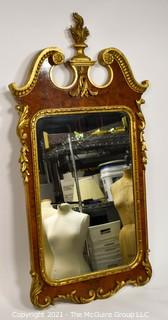 Wood Framed Parcel Gilt Mirror With Book Matched Veneer Inlay, Made in Italy; 26 x 53""