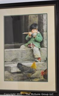 "Framed, Signed Numbered Print Under Glass titled ""Lan Lan's Breakfast: Zhang Wen Xin"";   26 x 34"""