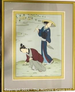 "Framed Under Glass Asian Painting on Silk of Women in Rice Field.  Measures approximately 30"" x 25""."