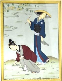 """Framed Under Glass Asian Painting on Silk of Women in Rice Field.  Measures approximately 30"""" x 25""""."""