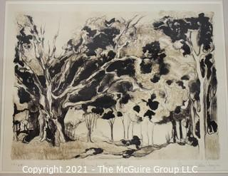 """Framed under glass, numbered (19/25) lithograph titled """"Armand's Bayou Trail, Houston, Texas; pencil signed by artist Rosanne Frazier; 19 x 23"""""""