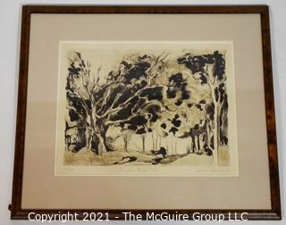 "Framed under glass, numbered (19/25) lithograph titled ""Armand's Bayou Trail, Houston, Texas; pencil signed by artist Rosanne Frazier; 19 x 23"""