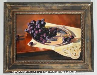 "Framed Oil on Canvas titled ""Concord Grapes with Belgium Lace"" by artist Chas Fagan, signed lower left; 18 1/2""W x 15""T"