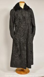 Vintage Long Persian Lamb Coat with Mink Collar
