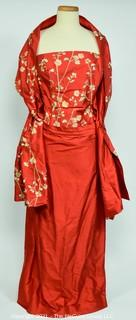 Red Embroidered Sleeveless Raw Silk Evening Dress with Matching Wrap.