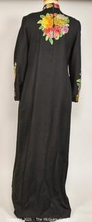 Vintage Wool Kashmiri Embroidered One Piece Long Sleeve Wool Dress.  Some damage.