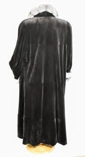 Birger Christensen Women's Black Beaver Fur Coat with Black & Grey Chinchilla Collar & Trim.