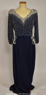 Vintage Victoria Royale of Hong Kong Black with Pearl and Crystal Hand Beaded Evening Gown. Size 14.