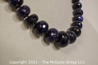 Rough Cut Blue Goldstone Knotted Bead Necklace