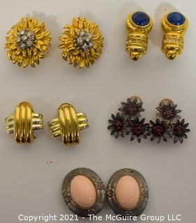 Five (5) Pairs of Clip On Earrings, Some Made by Erwin Pearl.