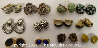 Group of (6) Clip On Costume Jewelry Earrings, Including Enamel.
