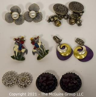 Group of (6) Clip On Costume Jewelry Earrings.