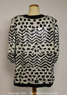 Vintage Patra Sequined & Beaded Black And White 100% Silk Jacket, Size 12.