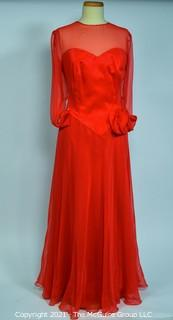 Red Evening Gown with Sheer Overlay made by Heahie's Design Studio of Georgetown.