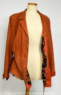 Dana Buchman Women's Rustic Orange Suede Leather Belted Jacket with Floral Silk Lining, Size 14