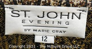 St. John Evening by Marie Gray Metallic Snake Skin Print Jacket With Zip Front, Size 12.