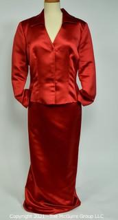 Women's Red Satin Long Sleeve Two Piece Gown with Skirt and Long Sleeve Top by Watters & Watters,  Size