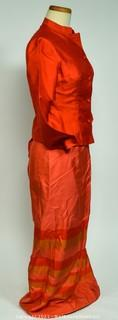 Custom Made Raw Silk Two Piece Long Skirt with Matching Button Front Top.   No size information available.