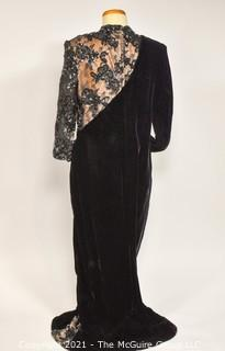 Victor Costa Black Velvet Evening Gown with Illusion Lace Dress, Saks Fifth Avenue, Size 12.