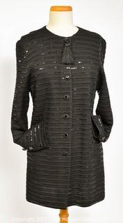 St. John Evening by Marie Gray Black Knit Jacket Top with Sequins and Tassle Closure, Size 12.