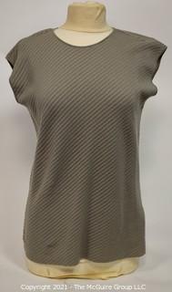 Armani Collezioni Beige Short Sleeve Knit Sweater Shirt, Size 14