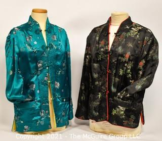 Tw0 (2) Authentic Asian Silk Satin Quilted Reversible Jackets with Floral Embroidery and Frog Closures, No Size.