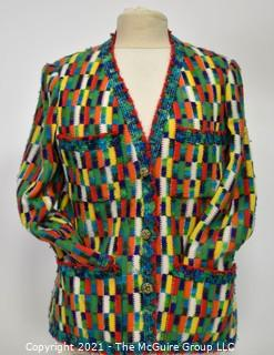 Vintage Multi Color With Silk Lining Cardigan Sweater by Marie Cherese of Nice France.